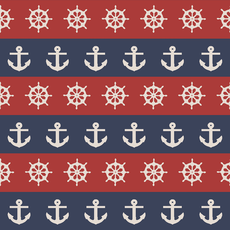 Ship Wheels & Anchors // Red & Navy  fabric by thinlinetextiles on Spoonflower - custom fabric