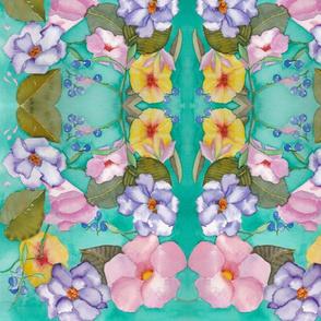 Watercolor Aqua Floral