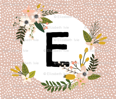 Blush Sprigs and Blooms Monogram Blanket // E