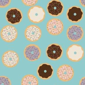 Donuts on light blue background