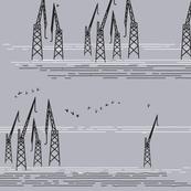 Cranes in Helsinki Gray