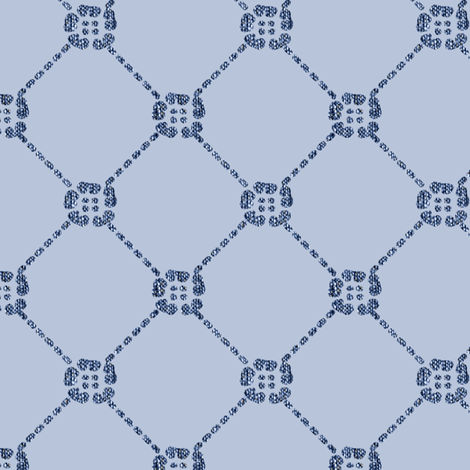 NEW flowery-diamondy MINOAN BLUE on LIGHT CAL-BLUEGREY blwhtfabricdark6LUMIN-Minoanblue--LT-CALblgrey218-15-85bkgr-sRGB-3inch-150_copy fabric by mina on Spoonflower - custom fabric