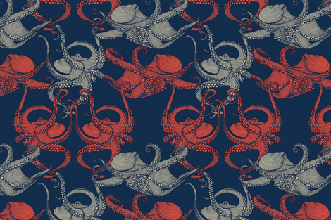 Cephalopod - Octopi smaller - Navy fabric by docious_designs_by_patricia_braune on Spoonflower - custom fabric