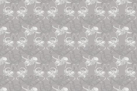 Cephalopod - Octopi smaller - Grey fabric by docious_designs_by_patricia_braune on Spoonflower - custom fabric