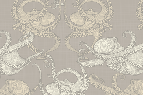 Cephalopod - Octopi - Neutral fabric by docious_designs_by_patricia_braune on Spoonflower - custom fabric