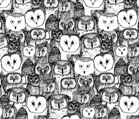 just owls black white fabric by scrummy on Spoonflower - custom fabric
