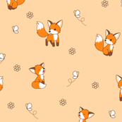 Frolicking foxes - on peach