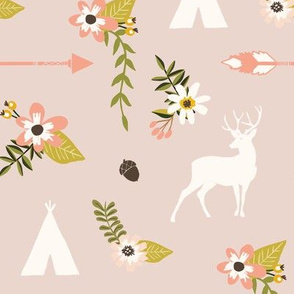 Boho deer and teepee