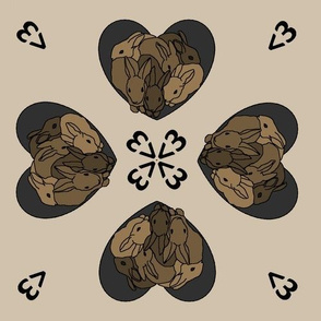 Bunny hearts (small) in browns