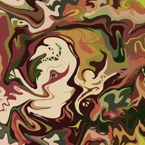 BN2 - Small  Abstract Marbled Mystery in browns, greens and beige