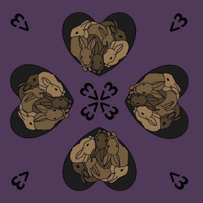 Bunny hearts (small) in brown and purple