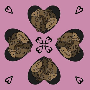 Bunny hearts (small) in brown and pink