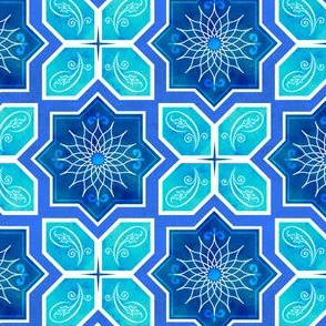 Moroccan Star Flower Geometric - Blue & Aqua