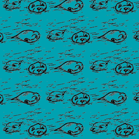 otters in blue fabric by babyitspersonal on Spoonflower - custom fabric