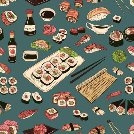 Colored_Sushi_and_rolls_seamless_pattern fabric by igor_netkoff on Spoonflower - custom fabric