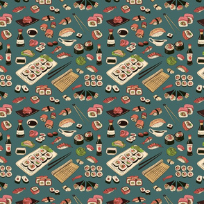 Colored_Sushi_and_rolls_seamless_pattern