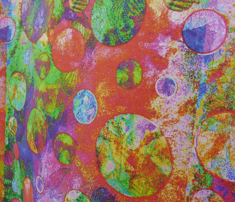 CRAZY MOON BALLOONS BUBBLES A 8 SMALL PANELS MIXED MEDIA