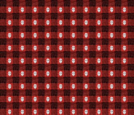 Slasher Buffalo Check 4 - red fabric by thecalvarium on Spoonflower - custom fabric