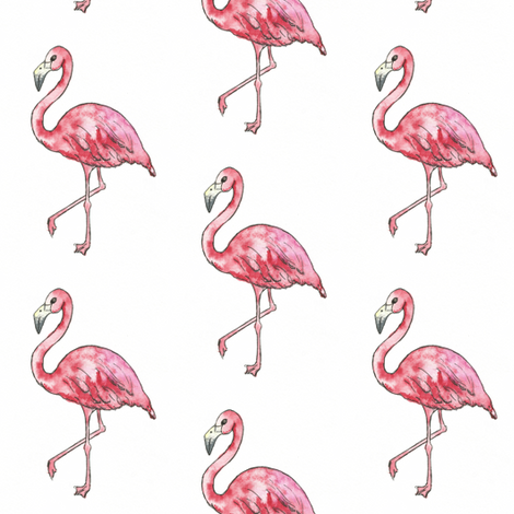 watercolour flamingo fabric by sweetlittletinkers_ on Spoonflower - custom fabric