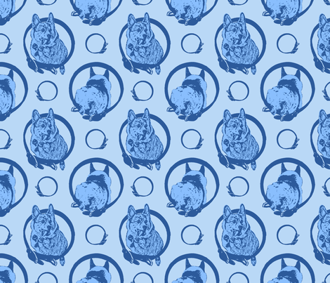 Collared leaping Pembrokes - blue fabric by rusticcorgi on Spoonflower - custom fabric