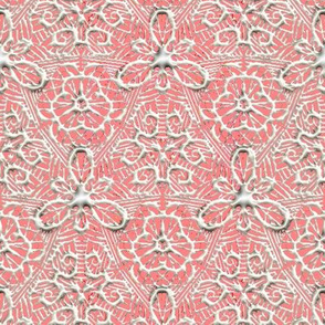 White Paint on Pink Leafy Lace