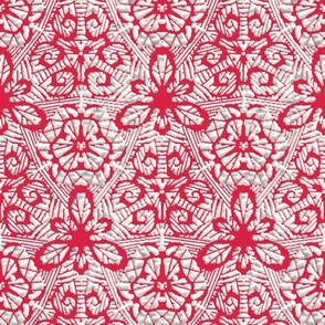 White Flocking on Cranberry Leafy Lace