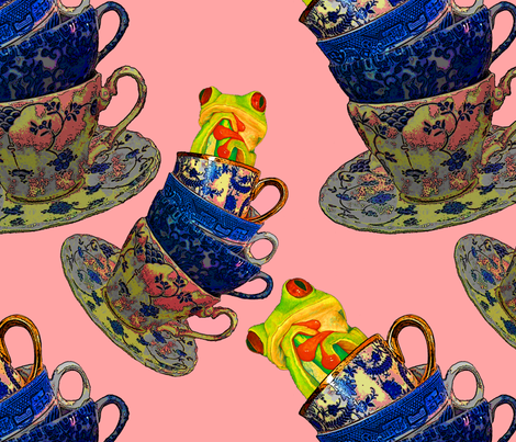 Groovy Frog in Cups fabric by studiosarcelle on Spoonflower - custom fabric