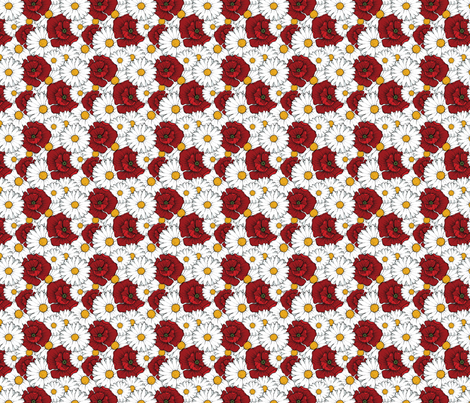 Poppies and Daisies fabric by floramoon on Spoonflower - custom fabric