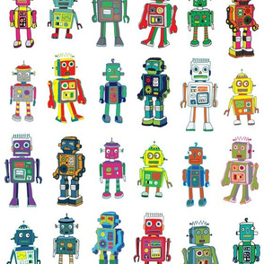 Robot Line-Up  On White - Medium scale