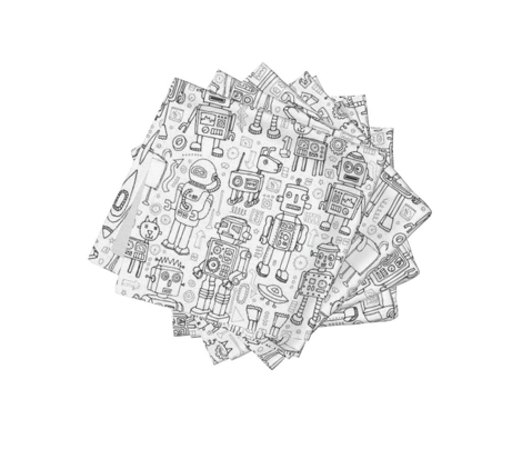 Robot Pattern - Black & White