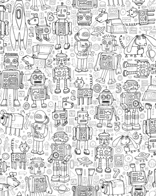 Robot Pattern - Black & White