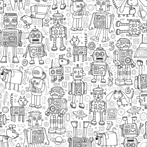 Robot Pattern - Black & White fabric by cecca on Spoonflower - custom fabric