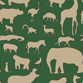 African Animals - Khaki/Hunter Green
