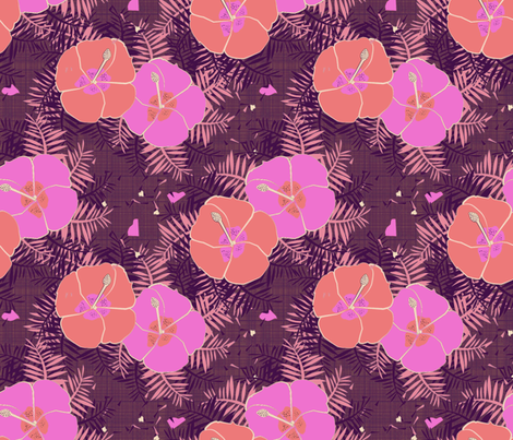 Hawaiian Limited Color Hibiscus Print fabric by pixabo on Spoonflower - custom fabric