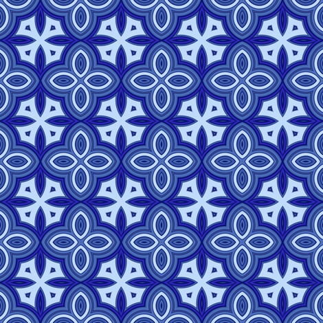 Blueberry blue Quatrafoil fabric by gingezel on Spoonflower - custom fabric