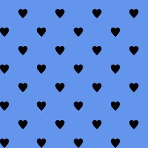Black Hearts on Cornflower Blue