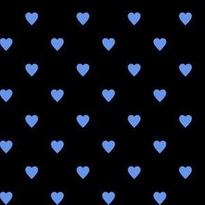 Cornflower Blue Hearts on Black