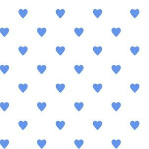 Cornflower Blue Hearts on White