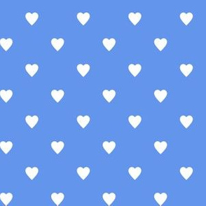 White Hearts on Cornflower Blue