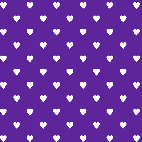 White Hearts on Purple fabric by mtothefifthpower on Spoonflower - custom fabric