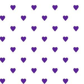 Purple Hearts on White