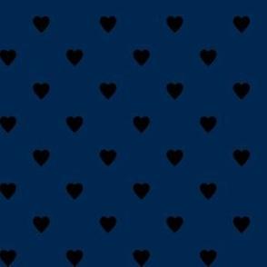 Black Hearts on Navy Blue