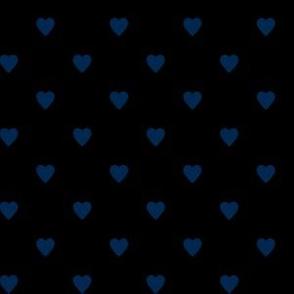 Navy Blue Hearts on Black