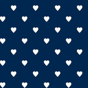 White Hearts on Navy Blue