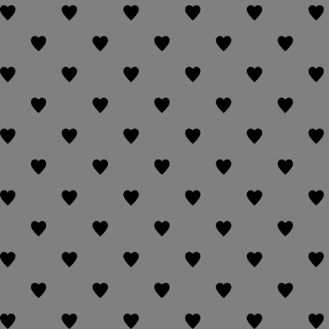 Black Hearts on Medium Gray fabric by mtothefifthpower on Spoonflower - custom fabric