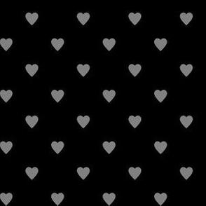 Medium Gray Hearts on Black
