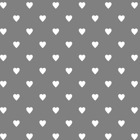 White Hearts on Medium Gray fabric by mtothefifthpower on Spoonflower - custom fabric