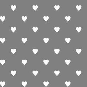White Hearts on Medium Gray