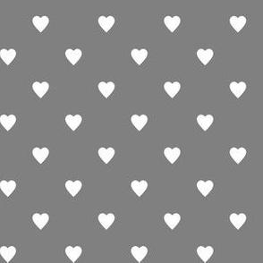 White Hearts on Medium Gray