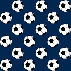 One Inch Black and White Soccer Balls on Navy Blue